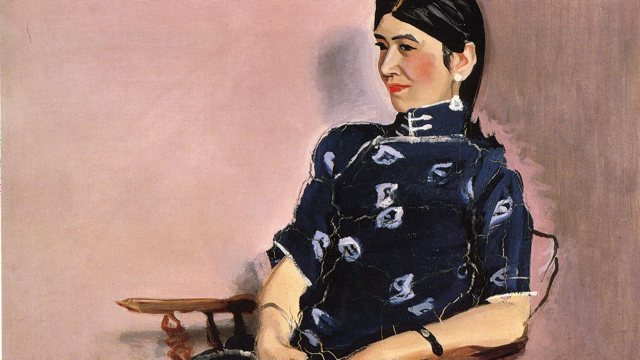 painting of a woman sitting in a wooden chair in navy patterned dress against pink walls