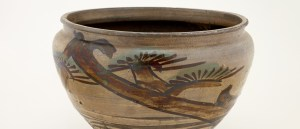 Detail photo of Vat; Japan, Saga Prefecture, Karatsu ware, Yumino kilns; Edo period, 19th century; Stoneware with white slip and iron and copper pigments under clear glaze; Gift of Pamela and Carl Green, F2016.5