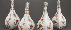 Photo of Four square bottles with lids; Bottles; Edo period, 1670-1700; Porcelain with enamels over colorless glaze; Arita ware, Kakiemon type; Japan, Saga prefecture, Arita, Nangawara; Freer Gallery of Art; F2017.6.1a/b-5a/f