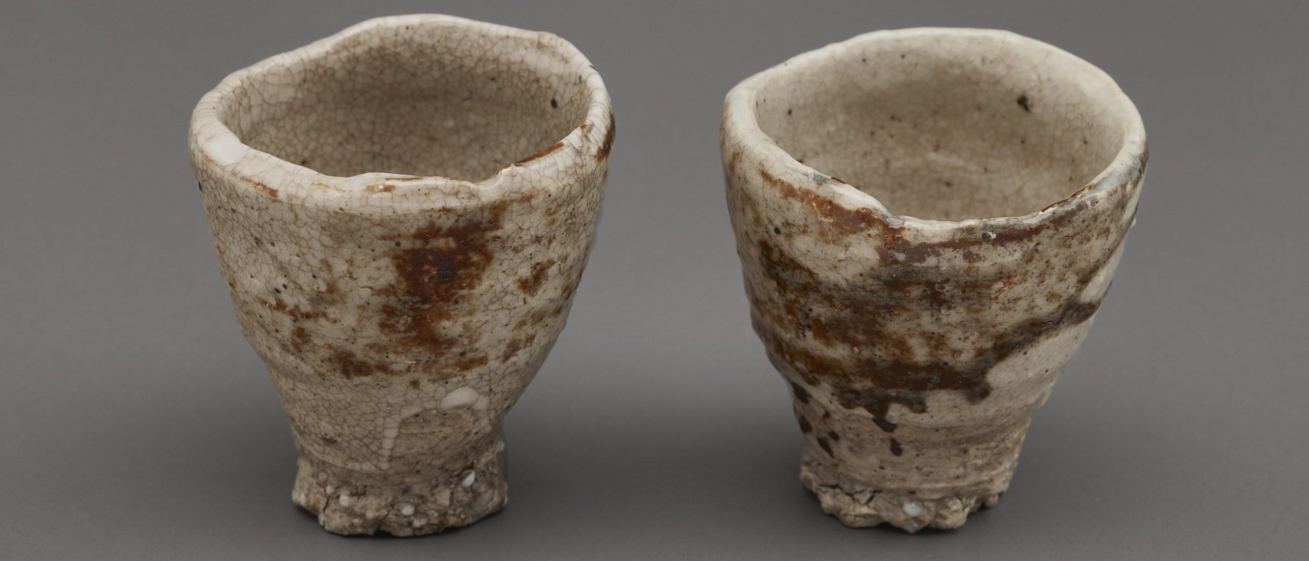 Photo of Two sake cups; Akiyama Yō (b. 1953); Japan, Kyoto, 1992; Porcelain with iron pigment under feldspathic glaze; Gift of Halsey and Alice North; Arthur M. Sackler Gallery S2017.17.1–2