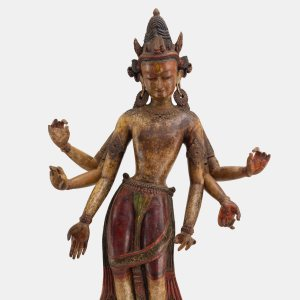 wood statue of Bodhisattva White Avalokiteshvara