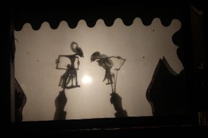 All-night shadow puppet performance (wayang kulit), Tembi Rumah Budaya, near Yogyakarta, Central Java