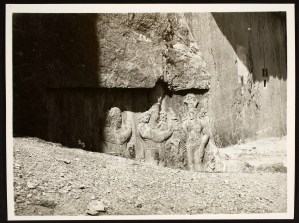 Rock cut reliefs depicting the Investiture of Narseh by Anahita