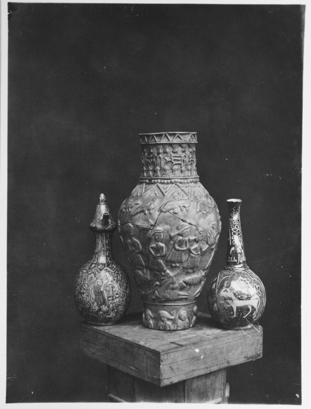 Three Vessels with Elaborate Ornamentation