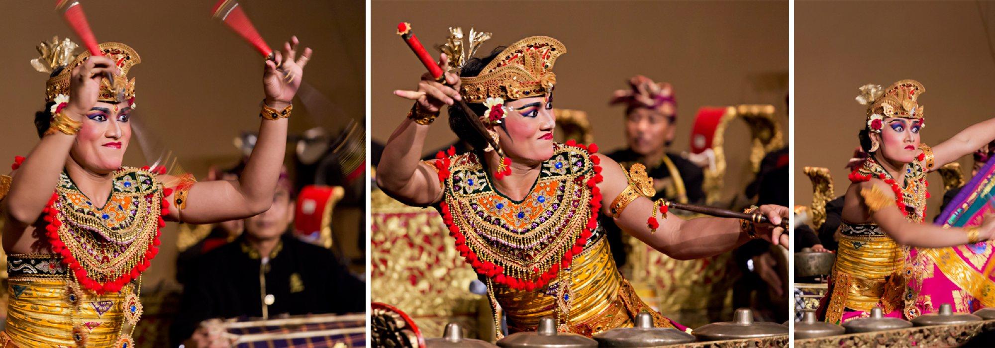 Performer in bright costume twirling gamelan mallets
