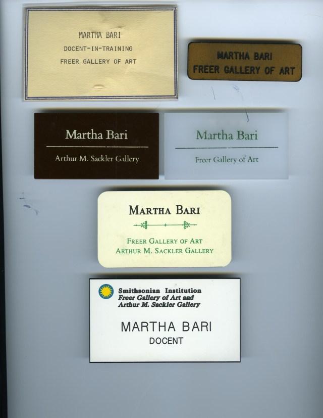 Martha Bari's name tags through the years