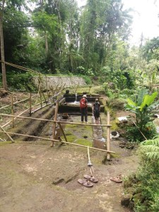 Two people walking in an excavated bathing site in the jungle