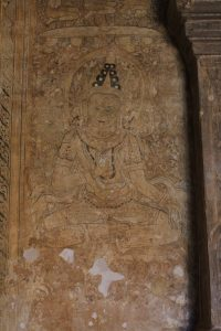 Wall drawing of a seated bodhisattva