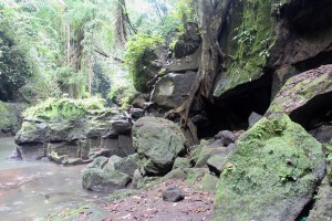 Caves beside a river ravine