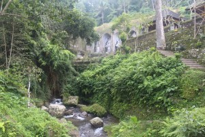 A river leading through jungle covered ravine towards rock-cut shrines, with stairs leading up to a temple