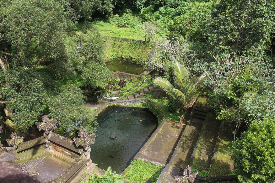 Terraced bathing place with carp pool at center