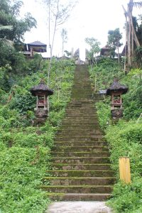 Stairs leading up to a split-gate