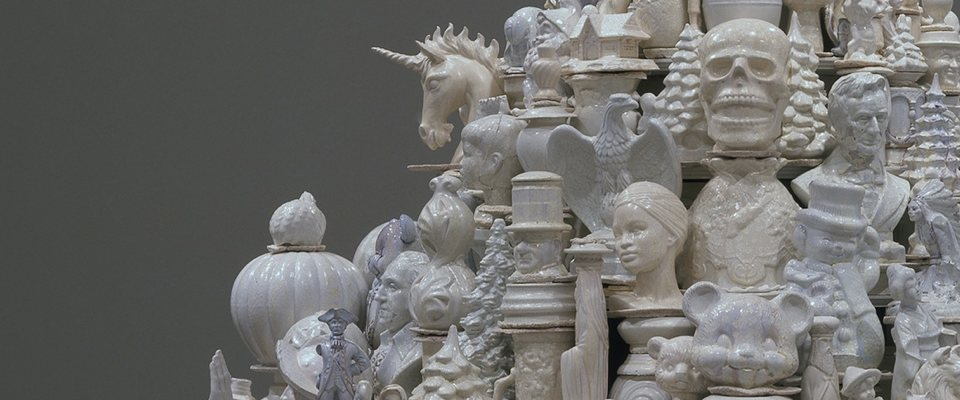 A mountain of white ceramic objects