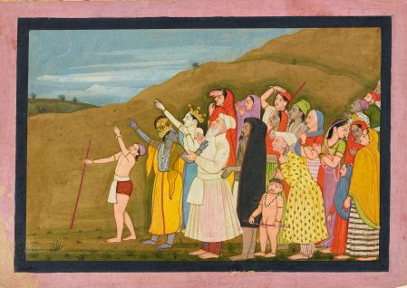 Krishna pointing to a solar eclipse