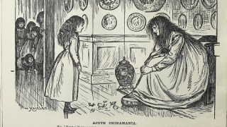 A haggard woman weeping over a shattered vase in front of her remorseful daughter as five other children crowd in the doorway.