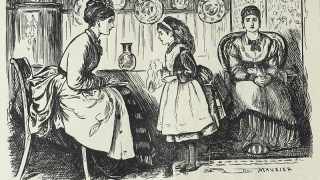A little girl facing her mother, who is leaning in, listening attentively. A maid sits with her hands folded. There are vases and Chinese plates in the background.