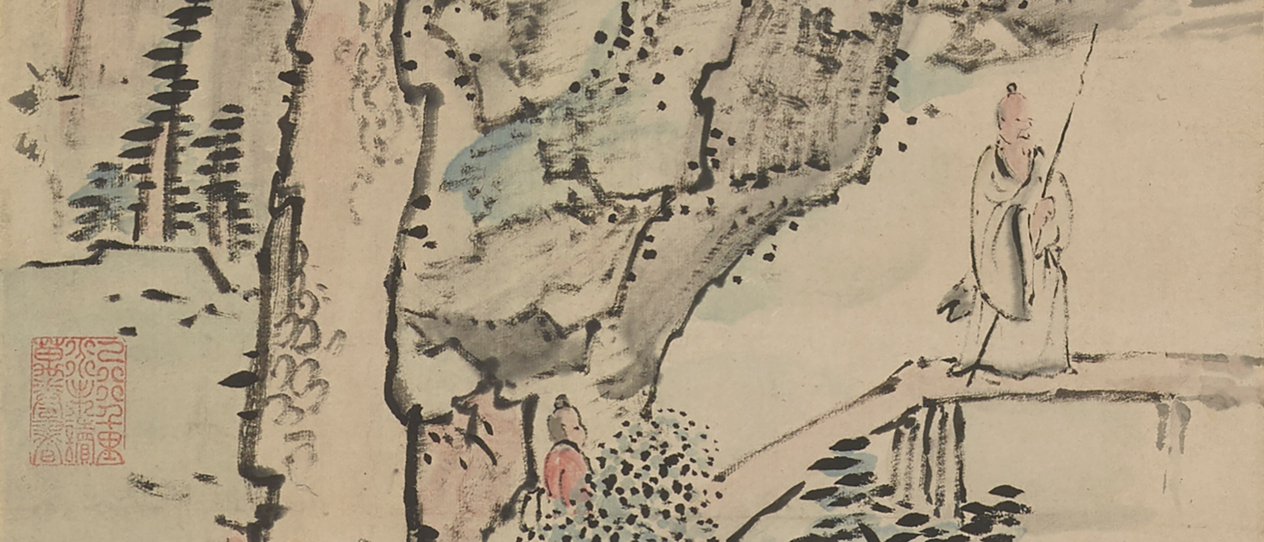 Detail photo of Traveling in the Ravine; Ike Taiga (1723–1776); Japan, late Edo period, mid-18th–late 18th century; Hanging scroll; ink and light color on paper; F2018.1a–d