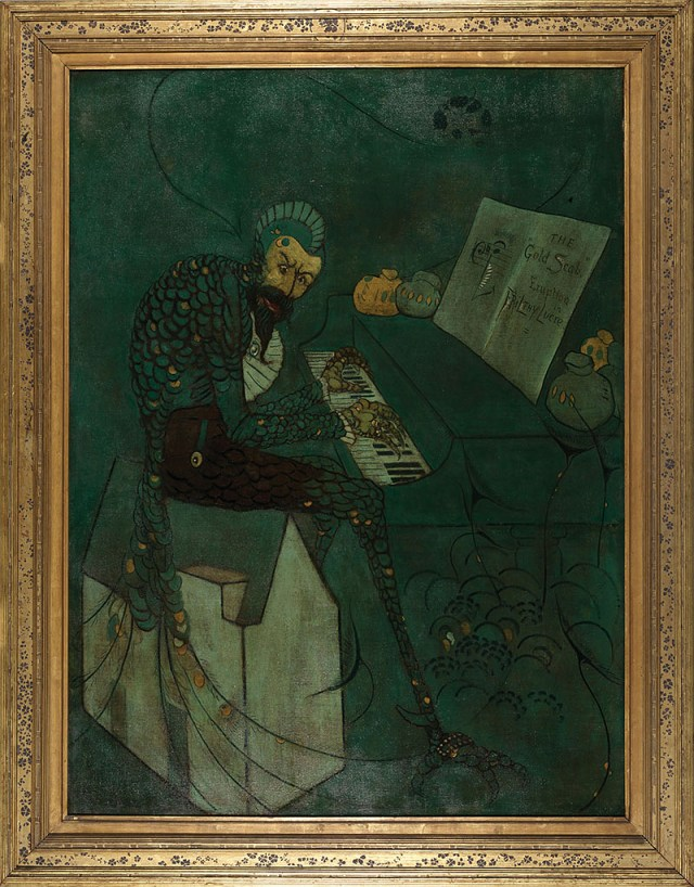 A green and gold caricature of Fredrick Leyland, half transformed into a peacock, hunched over a piano.