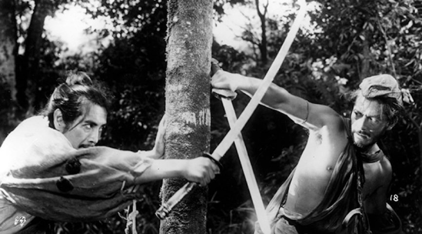 movie still of two swordsmen fighting