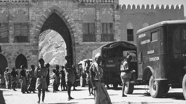Phillips and his expedition team rode in a convoy of AFSM trucks from Mukalla through the Hadhramaut to Timna.