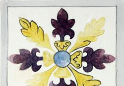 floral motif on tile