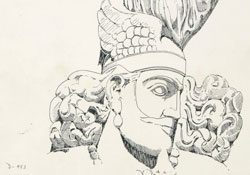 sketch of a crowned, bearded figure