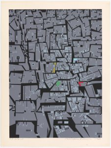 bird's-eye view of a mosaic of irregular gray shapes, depicting an urban landscape