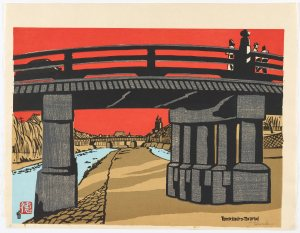 print on paper of a bridge against a bright red backdrop