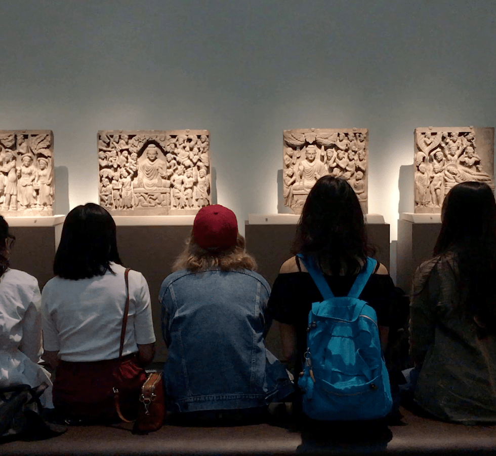 The Teen Council spends time with Buddhist art on display in the Freer|Sackler.