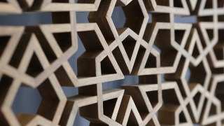 Intricate wooden latticework