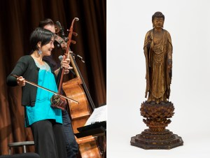 Musician and composer Shaw Pong Liu playing the ehru and a Japanese wood Amida statue.
