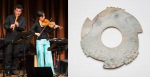 Shakuhachi musician Kojiro Umezaki playing with violinist Shaw Pong Liu and a Chinese notched disk.