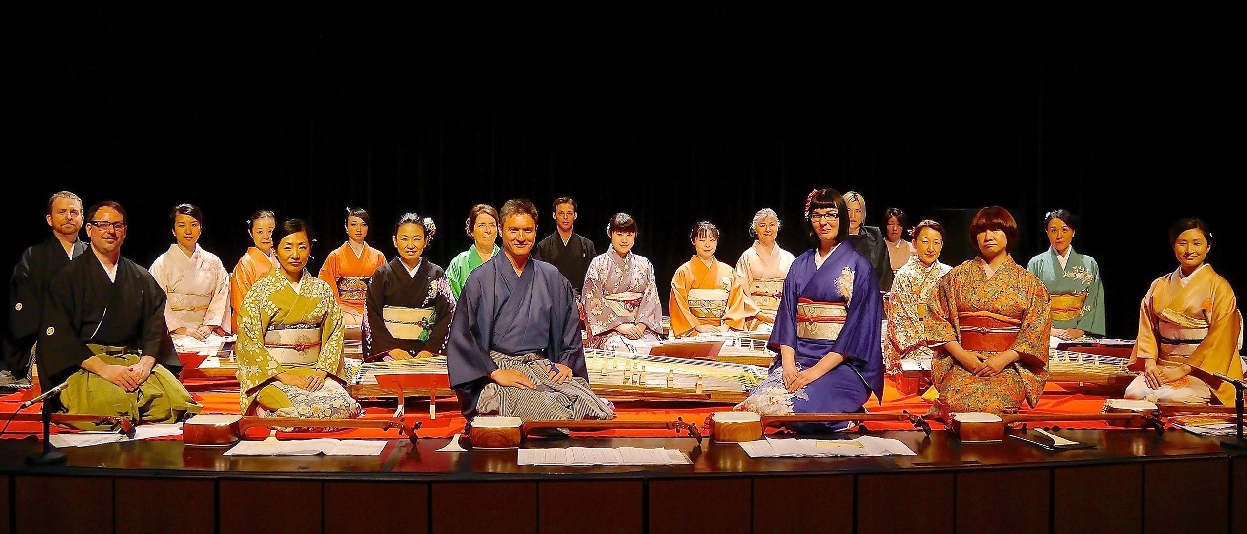 Members of the Miyabi Koto Shamisen Ensemble posing for a photo.