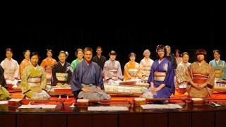 Members of the Miyabi Koto Shamisen Ensemble posing for a photo.