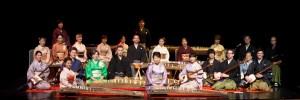 Members of the Miyabi Koto Shamisen Ensemble posing with their instruments.