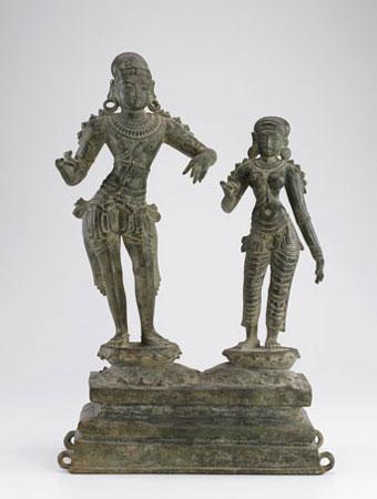 Bronze sculpture of two figures, Saint Sundarar and Paravai