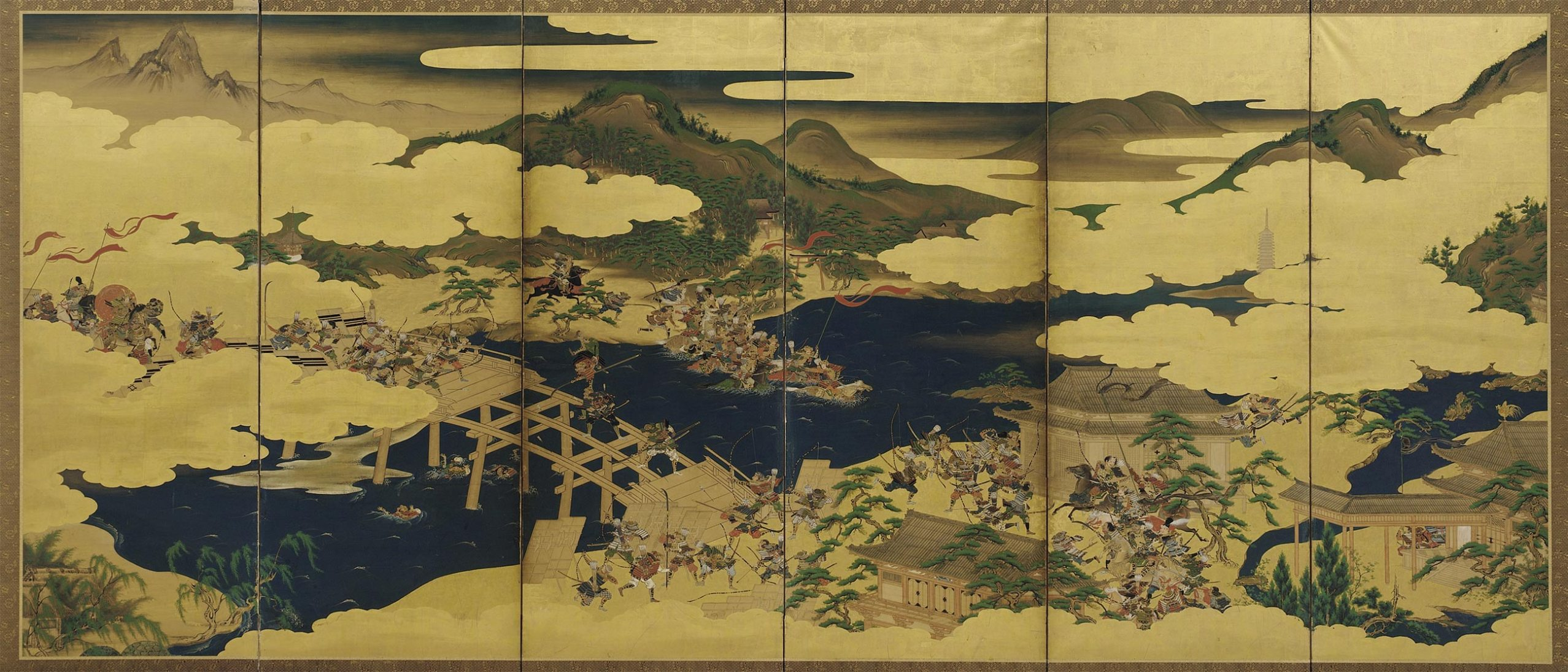 A detail from a screen depicting a battle scene, predominately gold, green and blues.