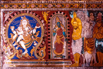 Nataraja with Parvati being worshiped by sages. Detail of a ceiling painting in the inner first prakara of the Nataraja temple, Chidambaram.