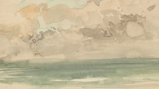 detail of a watercolor with loose brushwork depicting a grey, cloudy sky and the green-blue sea