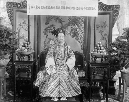 The Empress Dowager Cixi; China, Qing dynasty, 1903-1904; Glass plate negative; SC-GR 254