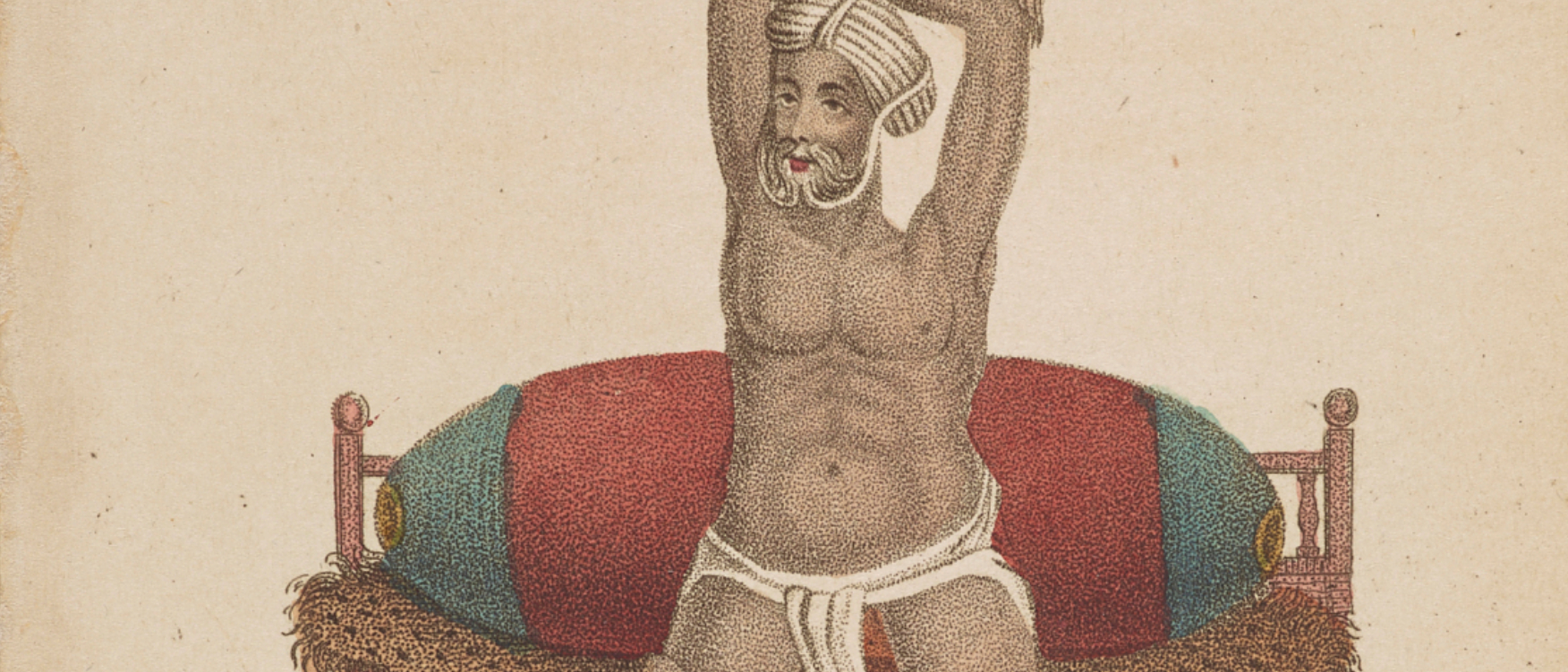 Ascetic man seated on a leopard-skin covered bed with his arms crossed and held above his head.