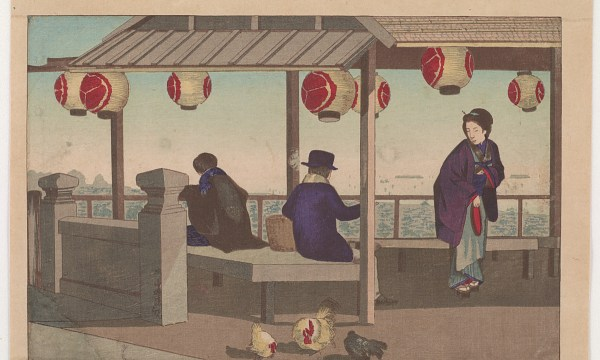 Atop Atago Hill, the city's highest natural elevation, two men relax in a teahouse.