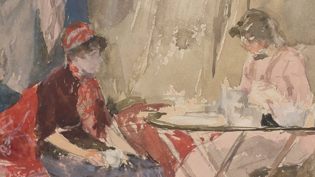 abstracted watercolor of two women seated by a table