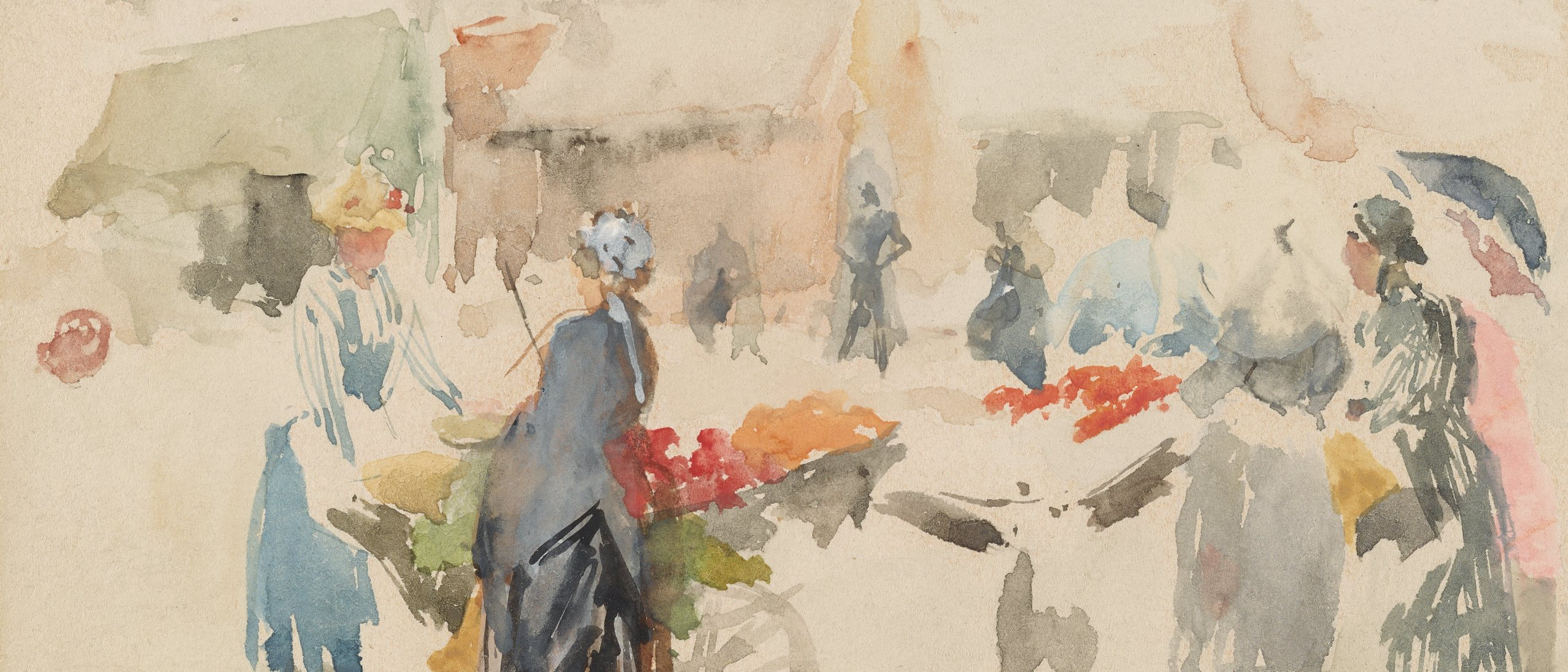 watercolor street scene of women shopping at the fruit market