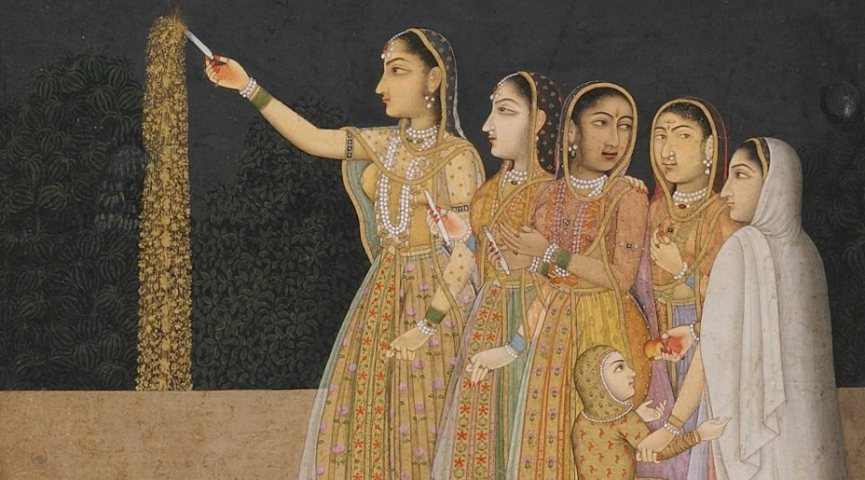 a painting of four women and a girl in dresses