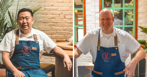 Collage of two men smiling, both wearing blue aprons and white shirts