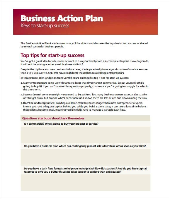 Business Action Plan Template Image 111  Business Action Plan Template