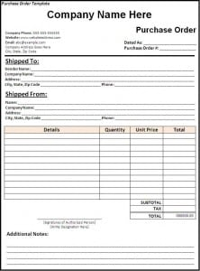 Purchase Order Template  Payslip Template Word
