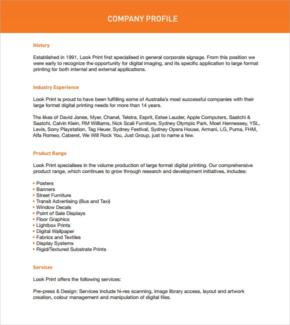 Free Company Profiles Template sample sample 7 documents in pdf – Free Company Profile Template Word