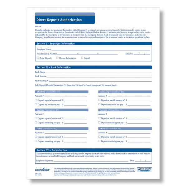 5 Generic Direct Deposit Form Templates - Formats, Examples In